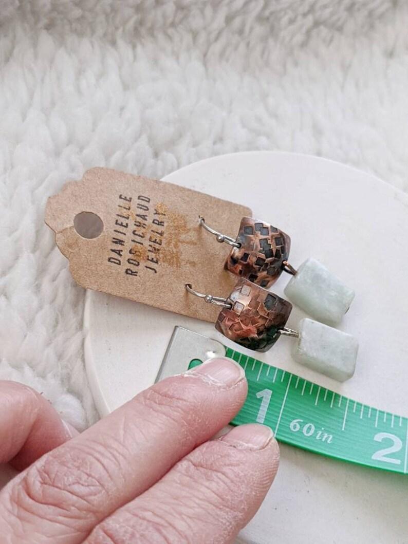 stamped copper earring drobichaudjewelry hammered copper earrings aventurine jewelry Copper earrings green jewelry mixed metal earrings