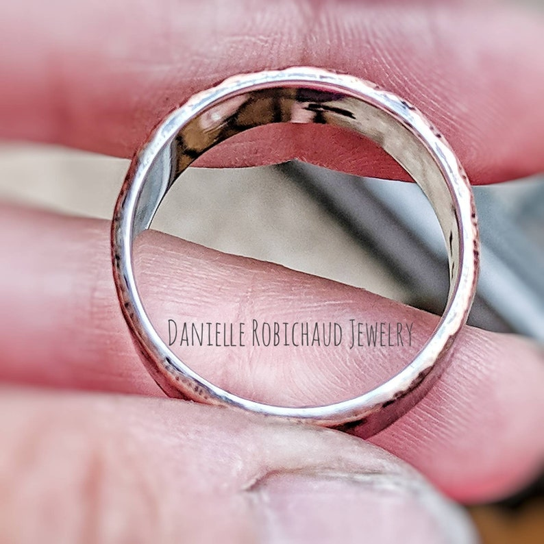 silver lined copper Drobichaudjewelry unisex wedding band hammered wedding band 10mm wide mens band rustic mixed metal wedding band