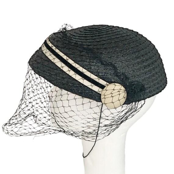 Vintage hat,  1950's calot hat, navy blue with ve… - image 1