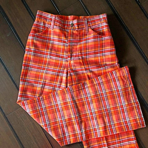 Vintage plaid bell bottoms, high waisted, 1970's p