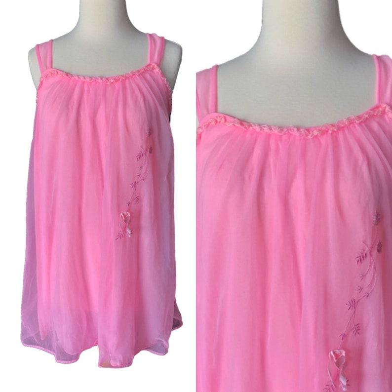 b993907bd8b Vintage pink sheer babydoll nightie 1960 retro lingerie hot