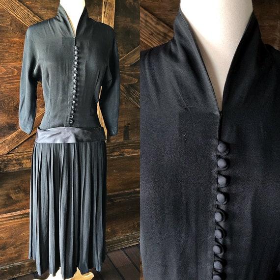 Vintage 1940's dress, drop waist, black vintage dr