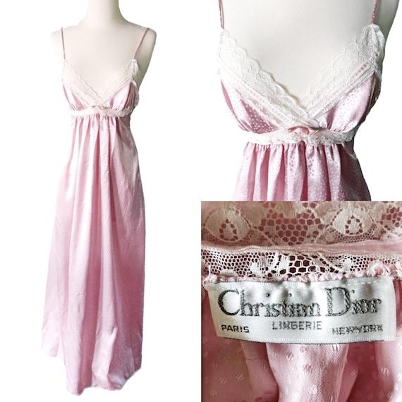 1931bf5919a7 Vintage Christian Dior chemise de nuit rose 1970 créateur   Etsy