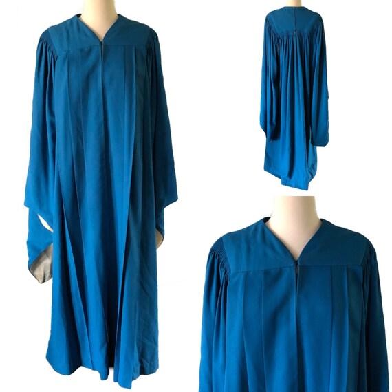 Vintage graduation gown, choir robe, blue, angel s