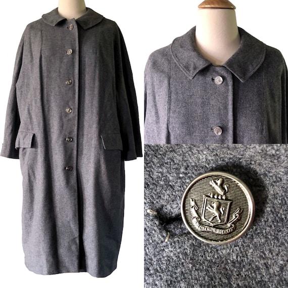 Wolle Vintage Knöpfevoll Staubsauger 1960 Wintermanteldetaillierte grau gefüttert Mantel MantelDamen wuTiZOPkX
