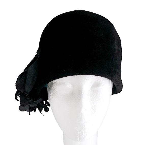 Vintage black fur cloche hat, 1960s, retro fashion
