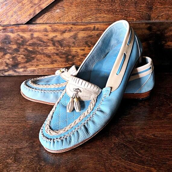 Vintage men's shoes, tassel loafers, light blue an