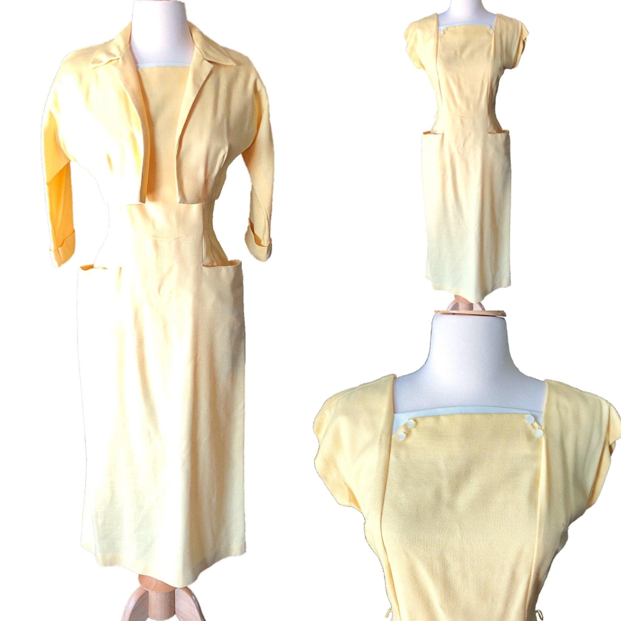 1950s Hats: Pillbox, Fascinator, Wedding, Sun Hats Vintage 1950S Wiggle Dress, Yellow  White, Matching Bolero Jacket, Size Small, Easter Pinup Fashion $0.00 AT vintagedancer.com