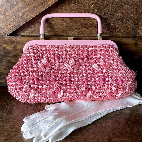 Vintage pink rattan purse, 1950's handbag, vintage