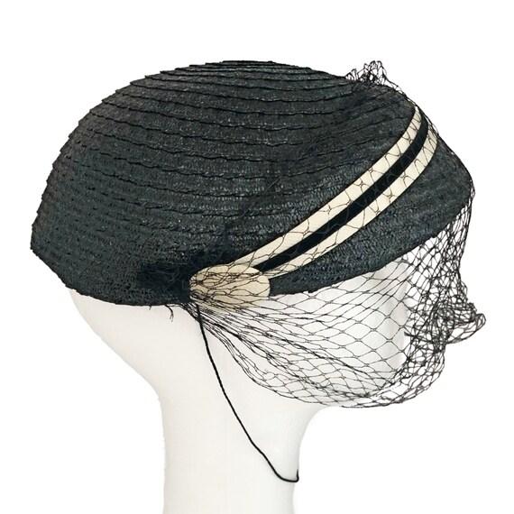 Vintage hat,  1950's calot hat, navy blue with ve… - image 5