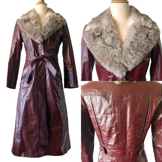 Vintage 1970's leather and fur  trench coat, burgu
