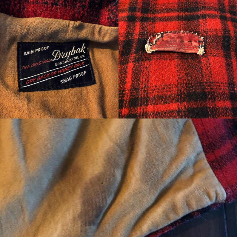 59d7c6ad86e2c Vintage hunting jacket by Drybak 1950's red/black plaid | Etsy