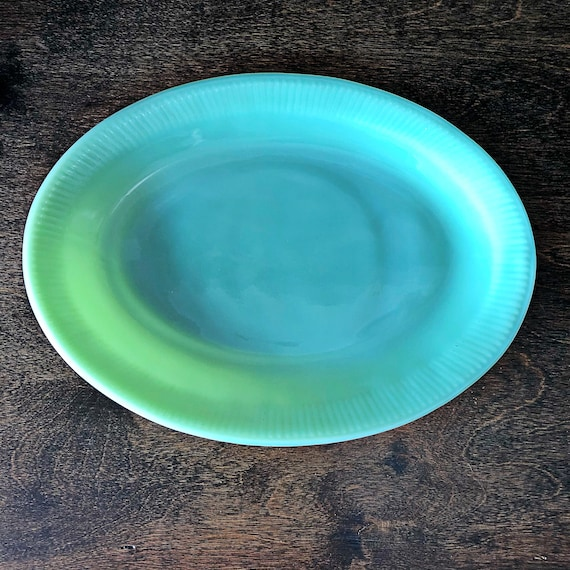 Made in USA FIRE KING Jane Ray Jadeite Oval Platter 1950s