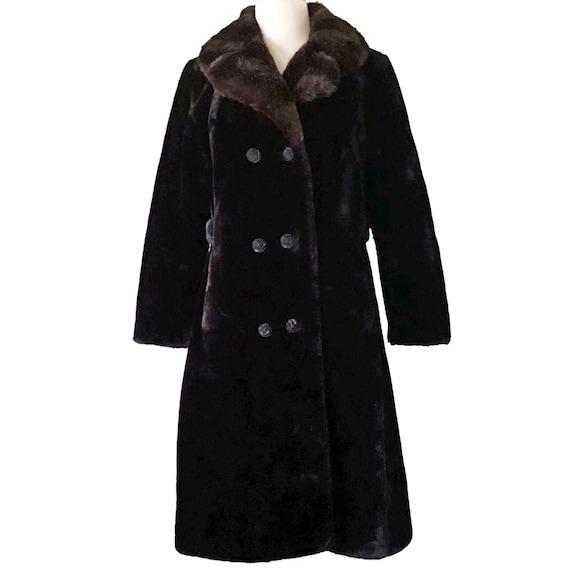 Vintage fur coat, 1970s winter coat, black with br