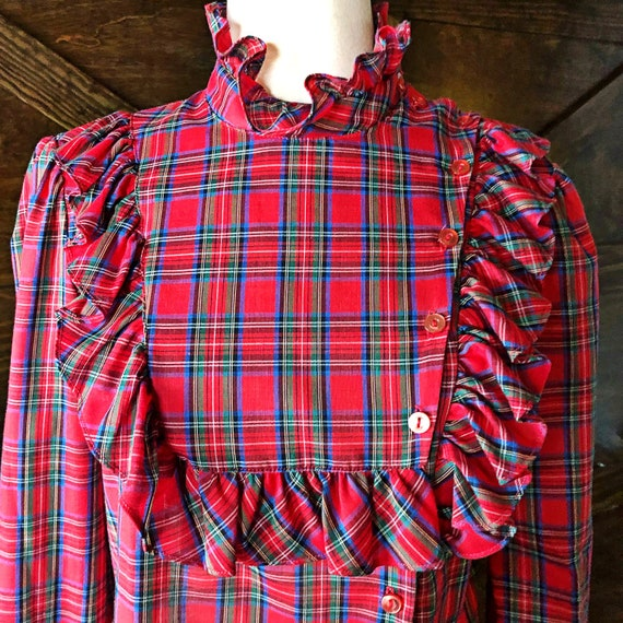 Checkered Victorian Boho Country style plaid 70s Ruffled red /& white Plaid Tartan Cotton button front Western Prairie long sleeve blouse