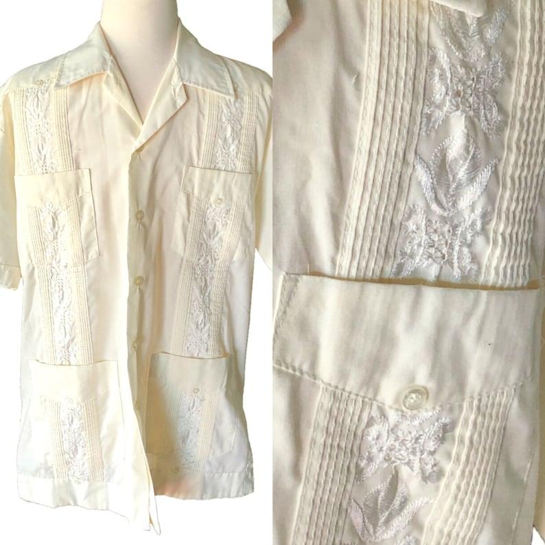 Mexican Wedding Shirt.Vintage Guayabera Men S Shirt Cream Mexican Wedding Shirt Short Sleeve Summer Shirt Retro Men S Fashion Embroidered Size Medium