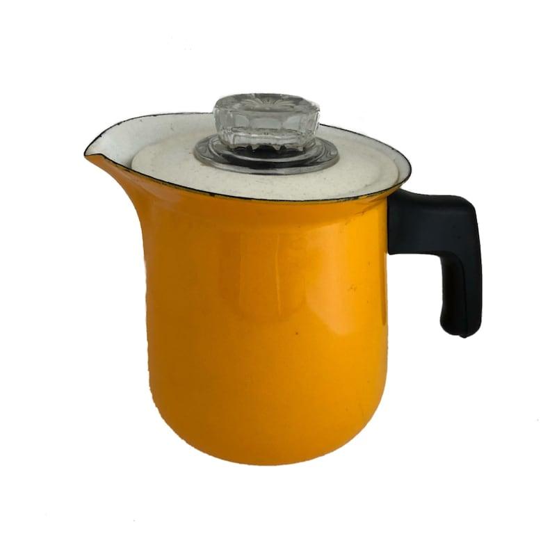 Vintage Enamel Coffee Pot Yellow 1950 Percolator With All Etsy