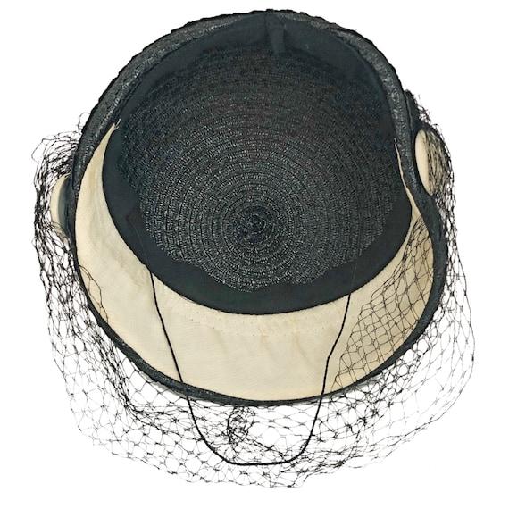 Vintage hat,  1950's calot hat, navy blue with ve… - image 8
