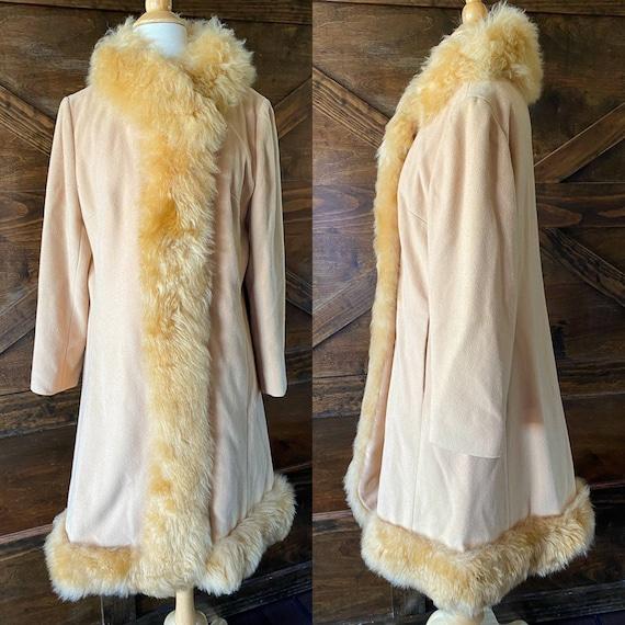 Vintage winter coat, fur trim, princess coat, vint