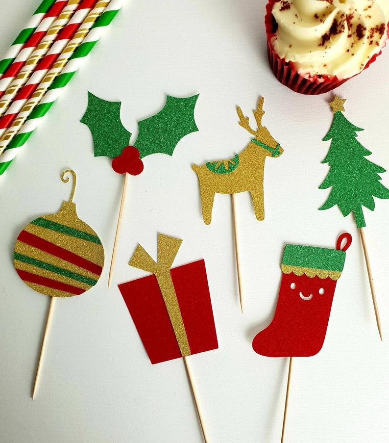 Christmas Cupcake Toppers.Christmas Cupcake Toppers Christmas Holly Christmas Tree Bauble Christmas Present Reindeer Christmas Stocking Christmas Cupcakes