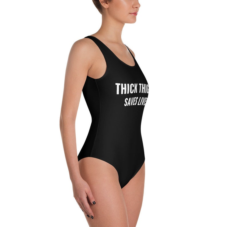 0f077e0250 Thick Thighs Save Lives One Piece Swimsuit Plus Size Swimwear