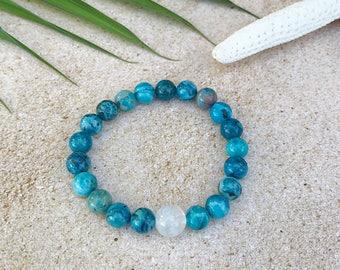 Blue crazy lace agate and selenite mala bracelet