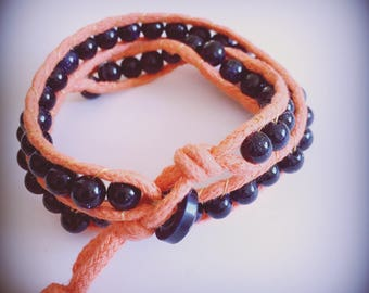 Orange and Navy Blue beads glitter