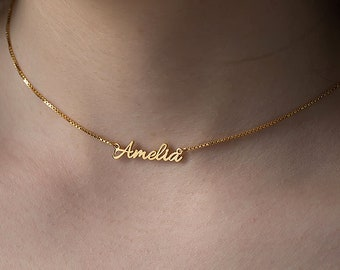 Personalized Name Jewelry,Tiny Name Necklace,Baby Girl Name Necklace,Dainty Name Charm,Bridesmaid Gift,Children Name Necklace, Font #1