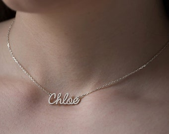 Chloe Tiny Name Necklace - Valentine's Gift - Gold Name Necklace - Christmas Gift - Baby gift - Mom gift - #Special Font#