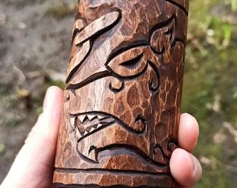 Viking home decor | Fenrir wooden idol | altar candle holder