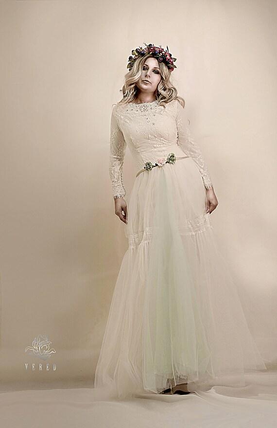 Long Sleeve Lace Wedding Dress Bohemian Bridal Gown Boho Wedding Dress Wedding Dress Bohemianlong Skirt Chiffon And Lace Dress