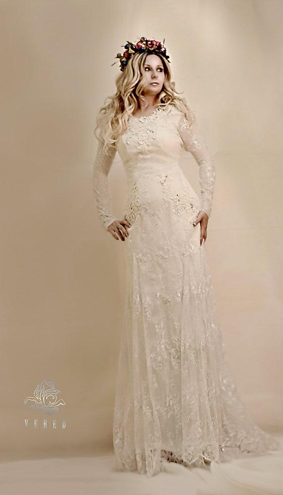 Long Sleeve Lace Wedding Dress Bohemian Bridal Gown Boho Wedding Dress Wedding Dress Bohemianlong Skirt Lace Wedding Dresses