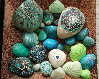 Blue and Green Painted Stones and Sea Shells