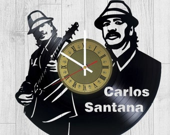 Carlos Santana vinyl clock musician gift for men women kids birthday home decor - unique design that made out of vinyl LP record