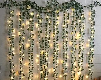 12 Strands Fake Ivy Leaves with Lights, 85Ft Hanging Artificial Vine Garlands with 100 LED String Lights, Greenery Home, Boho Decor