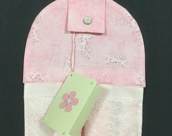 Hanging hand towel - pale pink towel