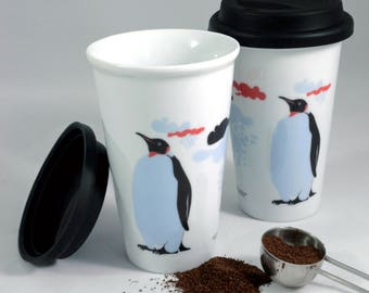 3af1bf78b7f Ceramic double walled travel mug with silicone lid, funny penguin print