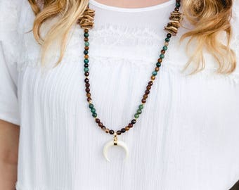 White Bone Pendant Necklace w/ Tigereye, Green, Gold, & Woodchip Beads