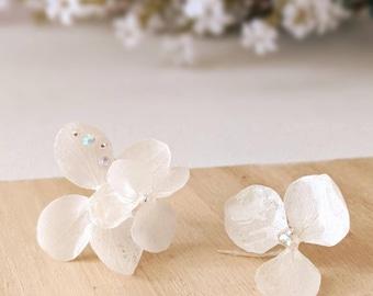 White Hydrangea Bridal Earrings