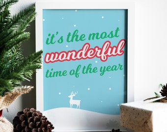 Most Wonderful Time Of The Year Christmas Wall Decor, Christmas Lyrics  Decorations, Simple Typography