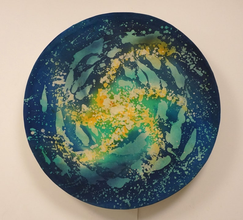 Round Blue Wall Lamp Batik Abstract Painting Home Wall The Whirl Nebula