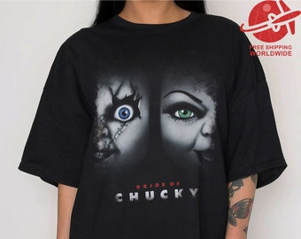 f45b06a0ca BRIDE of CHUCKY T SHIRT   Oversized shirt halooween   t-shirt witch  ladies  dress  letter print   cult movie  horror  woman   gift   funny
