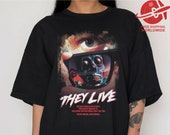 T SHIRT THEY LIVE Oversized shirt loose fit t-shirt ladies dress retro print movie horror gift halloween classic skull