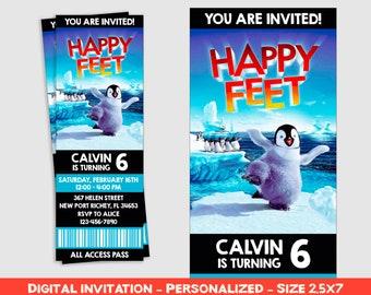 Happy Feet Invitation Birthday Party Ticket Printable Personalized Inv183