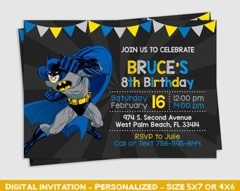 Batman Invitation Party Birthday Invite Printable Personalized Inv107