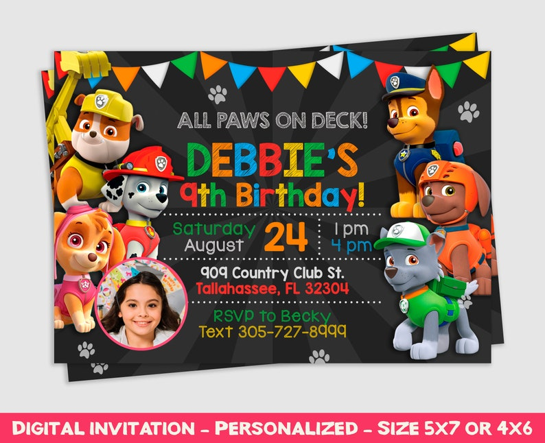 picture regarding Paw Patrol Invitations Printable referred to as Paw Patrol Invitation, Paw Patrol Invite, Paw Patrol Get together, Paw Patrol Birthday, Birthday Invitation, Printable Invite, Custom made, inv138
