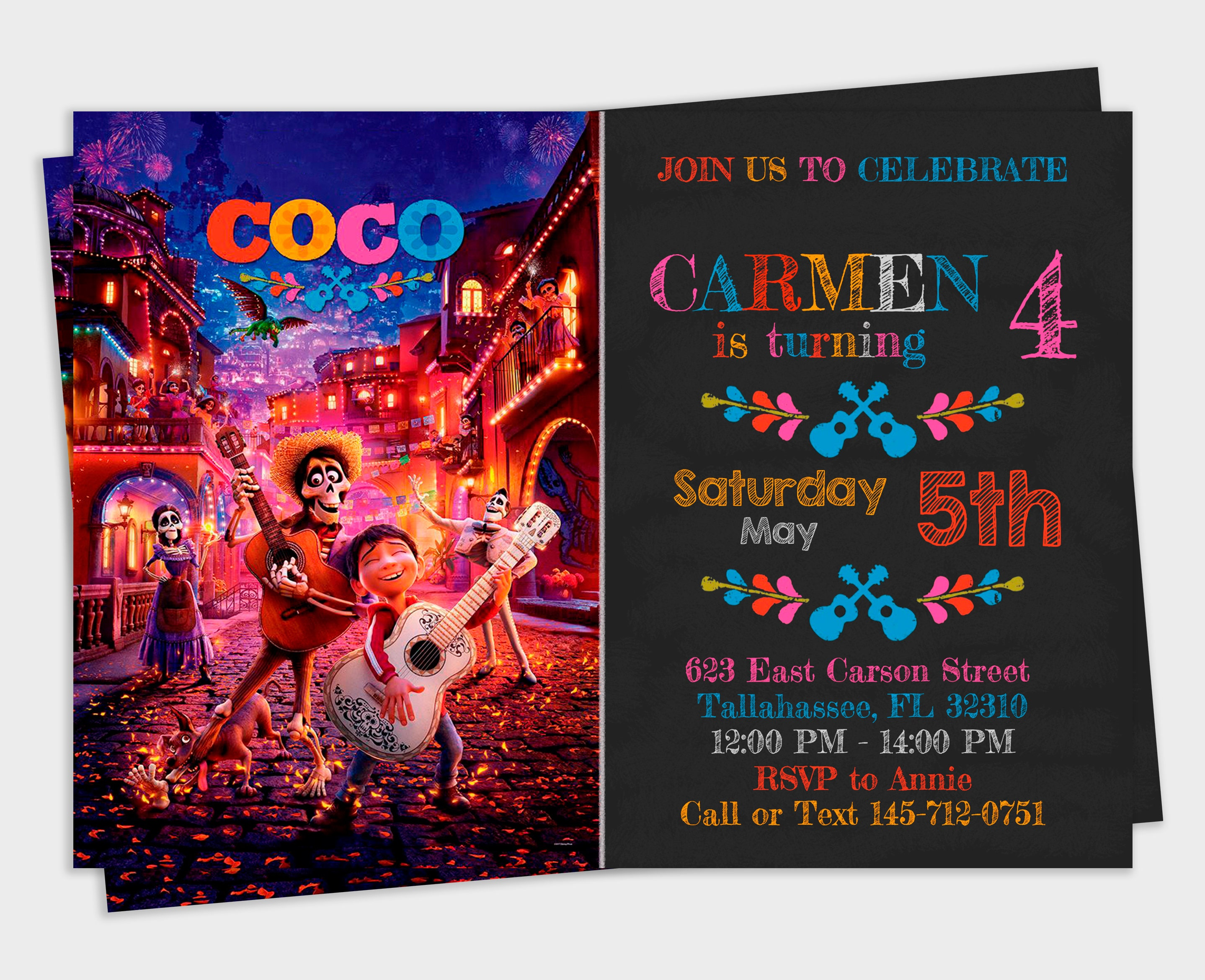 Coco Invitation Coco Party Birthday Invitation Coco