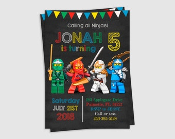 Ninjago Invitation, Ninjago Party, Ninjago Birthday, Birthday Invitation, Invitation for kids, Printable, inv65