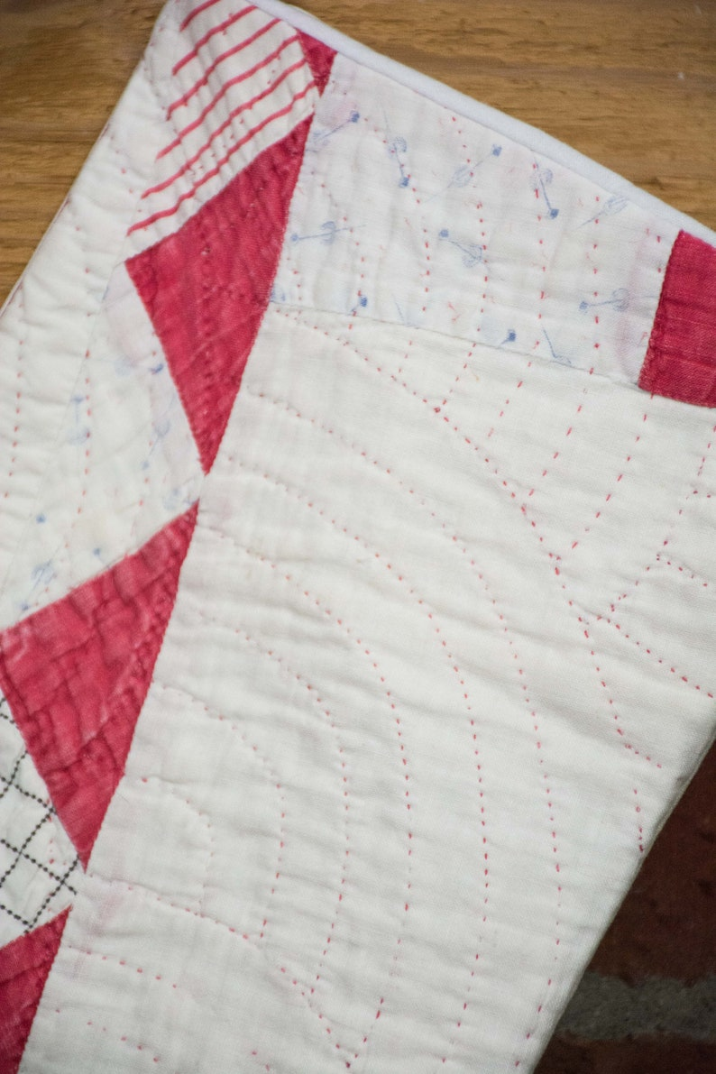 Beautiful Large Antique Red /& White Quilt Stocking Vintage Christmas Tablecloth Back Reversible