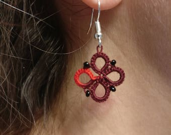 Tatted earrings, lace earrings